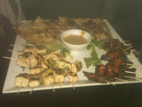 Chicken/beef skewers and vegetable quesadillas